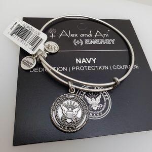 NWT Alex and Ani Navy Bangle Silver